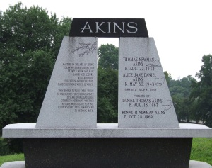 Akins monument, Crown Hill Cemetery, Indianapolis, Indiana