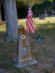 Homemade tombstone with GAR flag holder