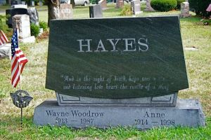 "Wayne Woodrow ""Woody"" Hayes, Union Cemetery, Columbus, Ohio. Photo by Amy Crow, 29 August 2008, all rights reserved."