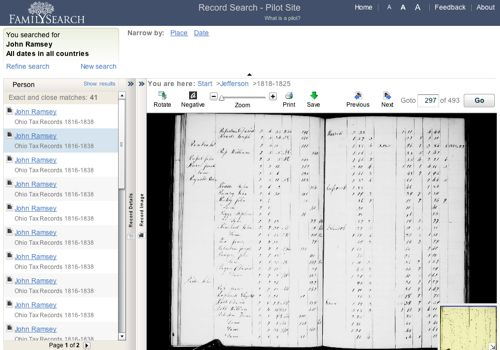 Showing an early Ohio tax record on FamilySearch.org.