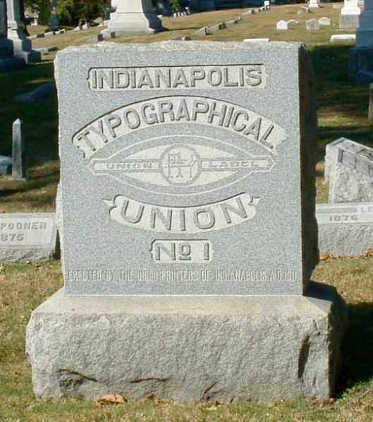 Indianapolis Typographical Union monument, Crown Hill Cemetery, Indianapolis, Indiana. Photo by Amy Crow, taken 27 September 2004, all rights reserved.
