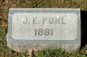 J. . E. Puhl marker, Crown Hill Cemetery, Indianapolis, Indiana; photo taken by Amy Crow, 27 Sept 2004, all rights reserved.