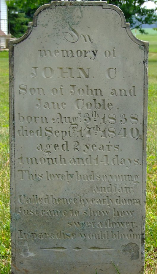 John C. Coble tombstone, Asbury Cemetery, Columbus, Ohio. Photo taken by Amy Crow 9 June 2009; all rights reserved.